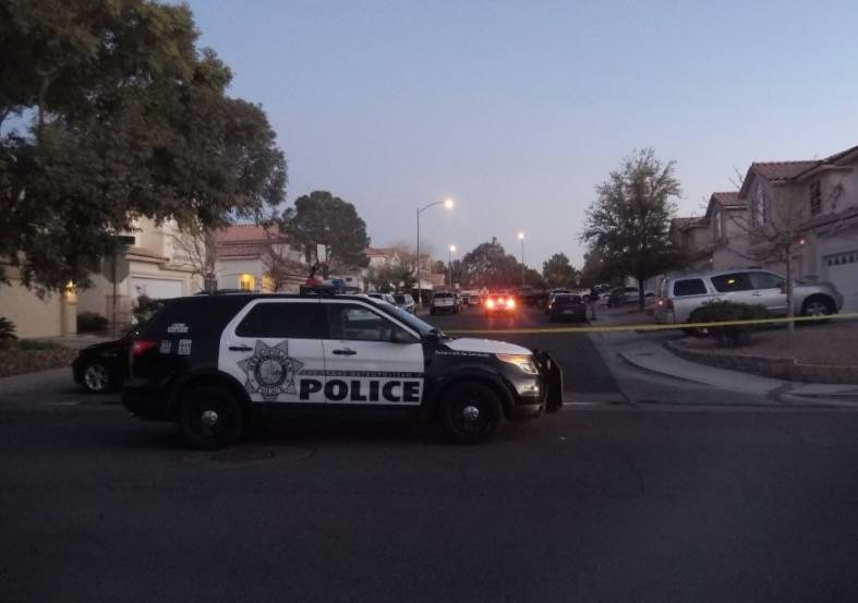 Las Vegas police are investigating a homicide and kidnapping in the 3300 block of Robin Nest Court, near Desert Inn Road and Hualapai Way, Wednesday, Feb. 7, 2018, in Las Vegas. Bizuayehu Tesfaye/ ...