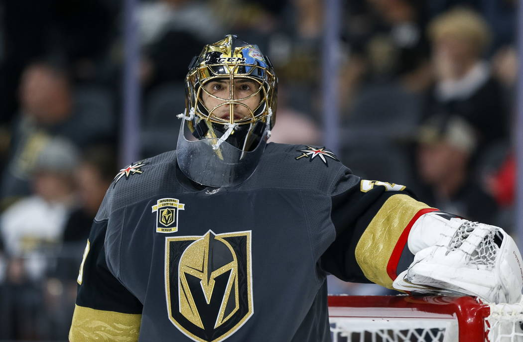 Vegas Golden Knights goaltender Marc-Andre Fleury (29) on the ice against the Philadelphia Flyers during the second period of an NHL hockey game at T-Mobile Arena in Las Vegas, Sunday, Feb. 11, 20 ...