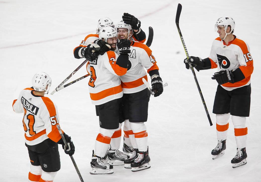 Philadelphia Flyers celebrate an open net goal by Philadelphia Flyers defenseman Radko Gudas (3) during the third period of an NHL hockey game between the Vegas Golden Knights and the Philadelphia ...