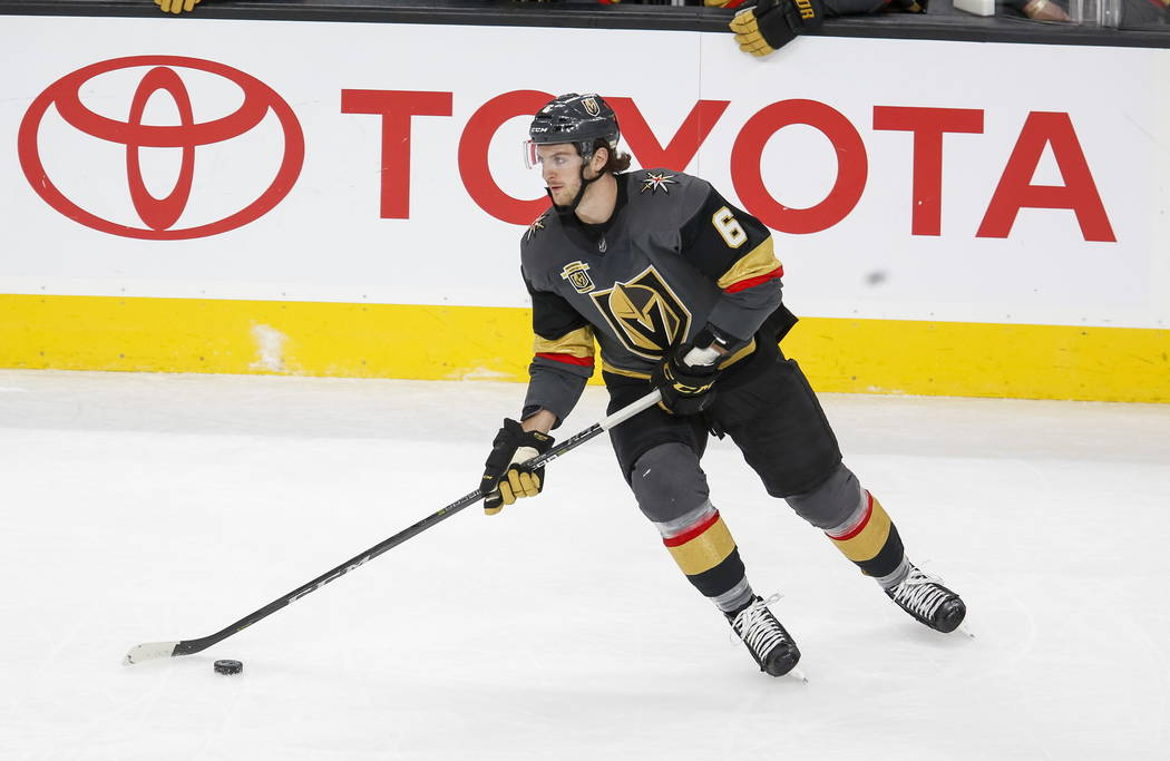 Vegas Golden Knights defenseman Colin Miller (6) on the ice during the third period of an NHL hockey game between the Vegas Golden Knights and the Philadelphia Flyers at T-Mobile Arena in Las Vega ...