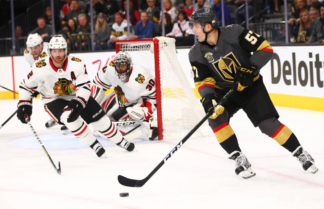 Golden Knights left wing David Perron (57) moves the puck against the Chicago Blackhawks during an NHL game at T-Mobile Arena in Las Vegas on Tuesday, Feb. 13, 2018. Chase Stevens Las Vegas Review ...