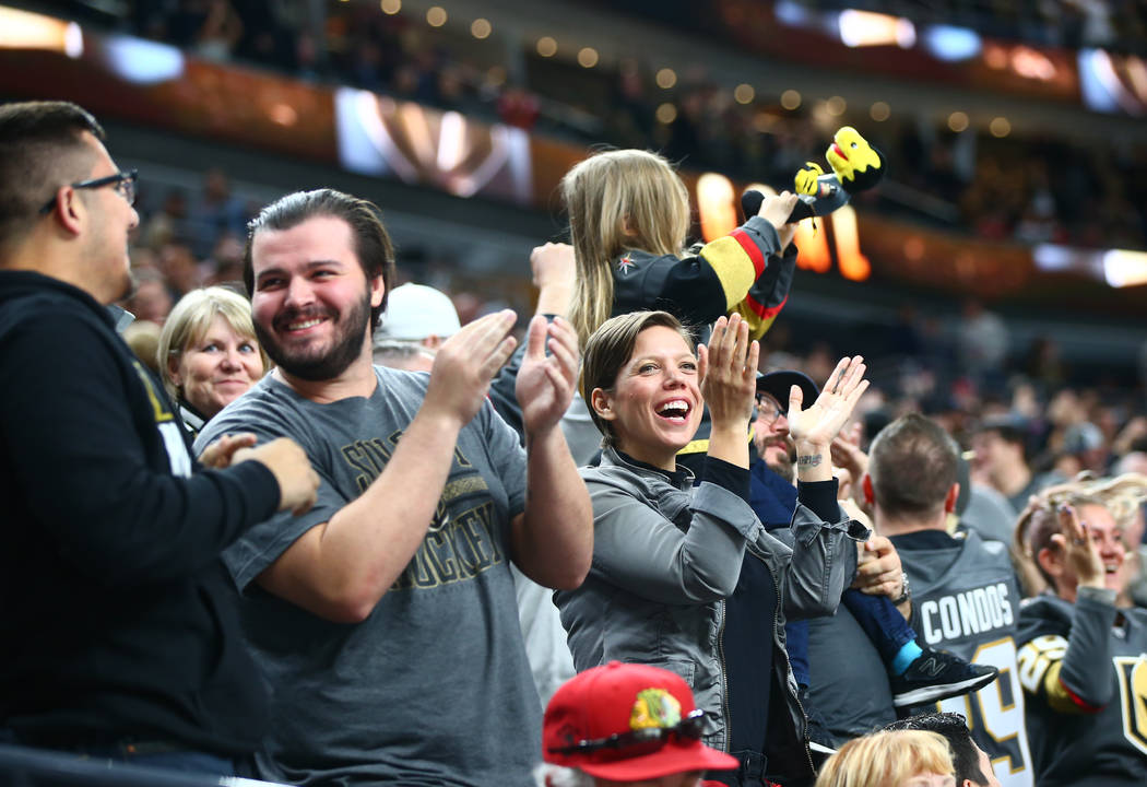Golden Knights fans celebrate as the team scores during an NHL game against the Chicago Blackhawks at T-Mobile Arena in Las Vegas on Tuesday, Feb. 13, 2018. Chase Stevens Las Vegas Review-Journal  ...