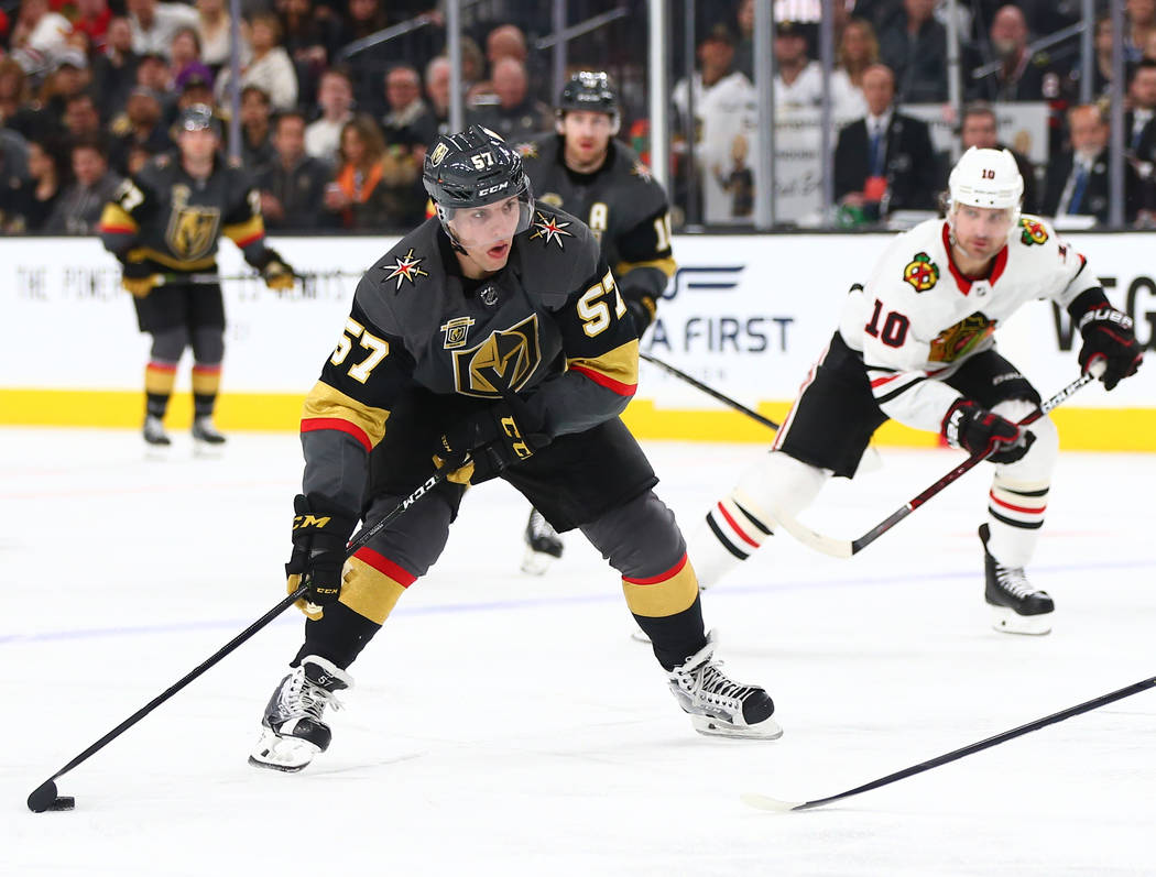 Golden Knights left wing David Perron (57) lines up a shot before scoring on the Chicago Blackhawks during an NHL game at T-Mobile Arena in Las Vegas on Tuesday, Feb. 13, 2018. Chase Stevens Las V ...