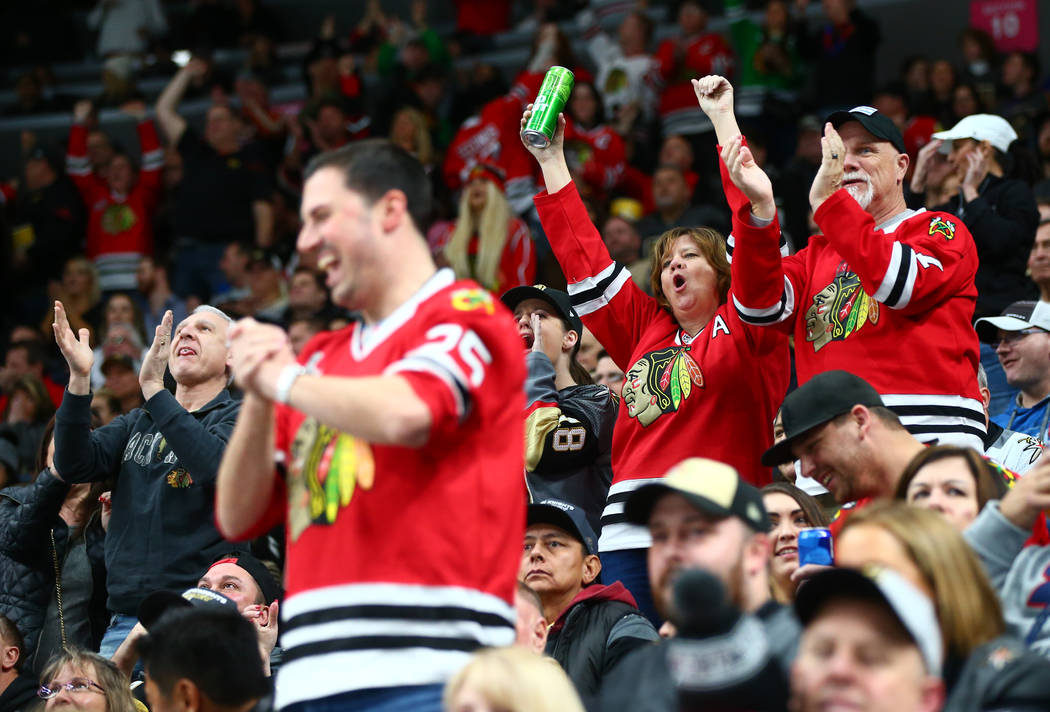 Chicago Blackhawks fans celebrate as the team scores against the Golden Knights during an NHL game at T-Mobile Arena in Las Vegas on Tuesday, Feb. 13, 2018. Chase Stevens Las Vegas Review-Journal  ...