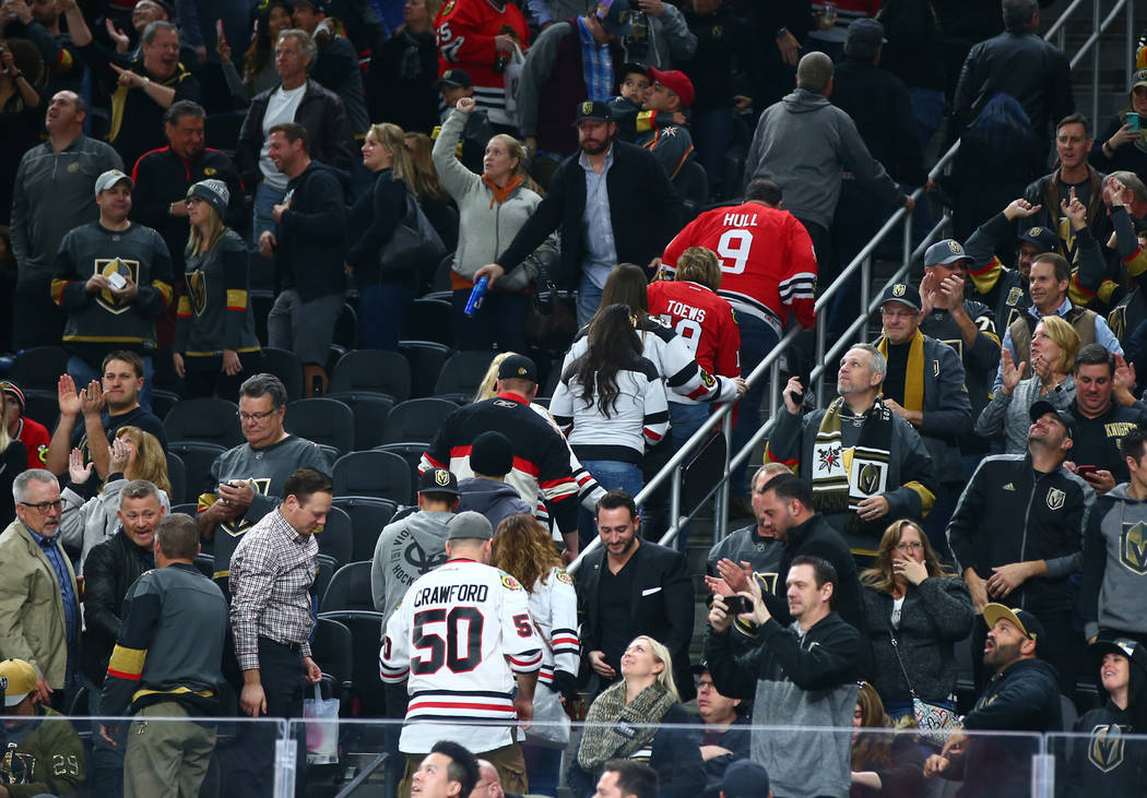 Chicago Blackhawks fans leave in the final minutes of an NHL game against the Golden Knights at T-Mobile Arena in Las Vegas on Tuesday, Feb. 13, 2018. Chase Stevens Las Vegas Review-Journal @csste ...