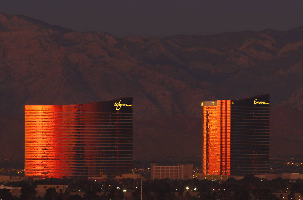 The Wynn and Encore on the Las Vegas Strip on the morning of Wednesday, Jan. 31, 2018. (David Guzman/ Las Vegas Review-Journal) @DavidGuzman1985