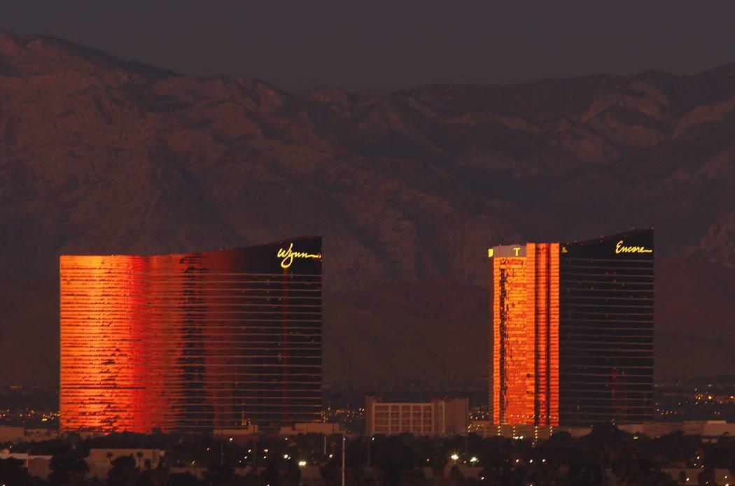 The Wynn and Encore on the Las Vegas Strip on the morning of Wednesday, Jan. 31, 2018. (David Guzman/ Las Vegas Review-Journal) @DavidGuzman1985