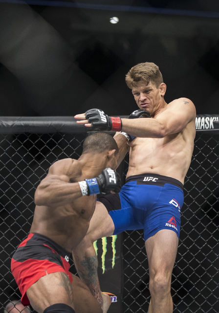 Alex Garcia lands a strike against Mike Pyle during UFC 207 at T-Mobile Arena on Friday, Dec. 30, 2016, in Las Vegas. Pyle, originally from Memphis, lives and trains in Las Vegas. Benjamin Hager/L ...
