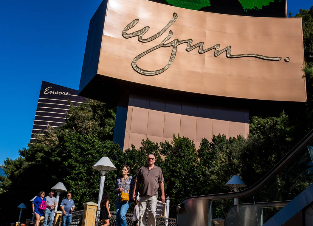 Strip visitors walk past the Wynn Las Vegas on South Las Vegas Boulevard on Wednesday, Feb. 7, 2018.   (Patrick Connolly/Las Vegas Review-Journal) @PConnPie