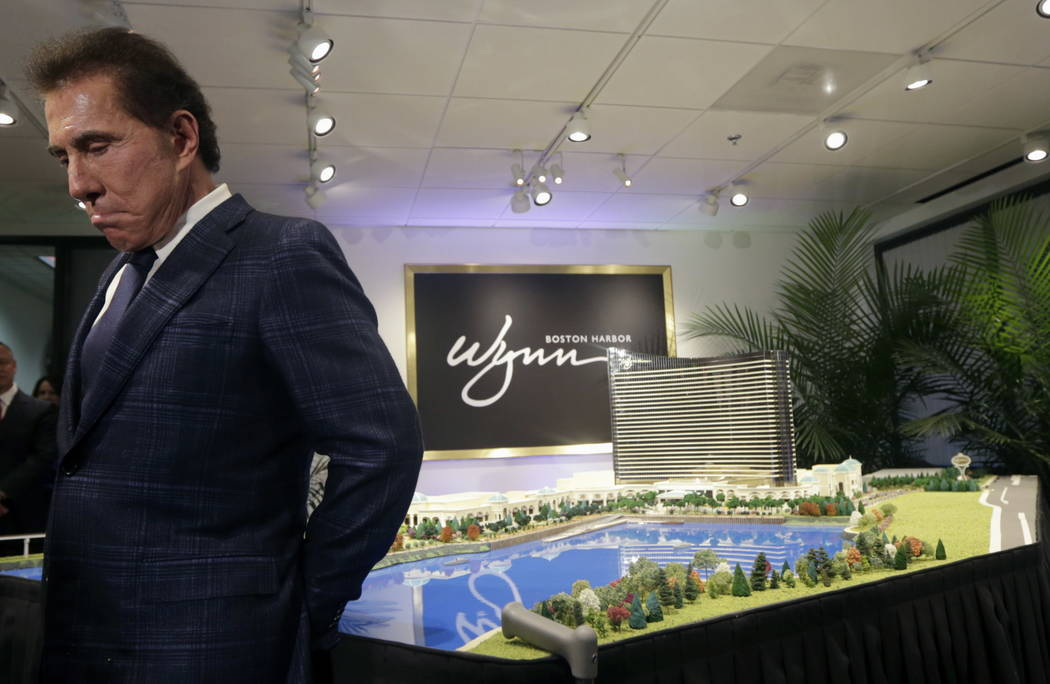 Steve Wynn is shown during a news conference in Medford, Mass., on March 15, 2016. Facing investigations by gambling regulators and allegations of sexual misconduct, Wynn has stepped down as chair ...