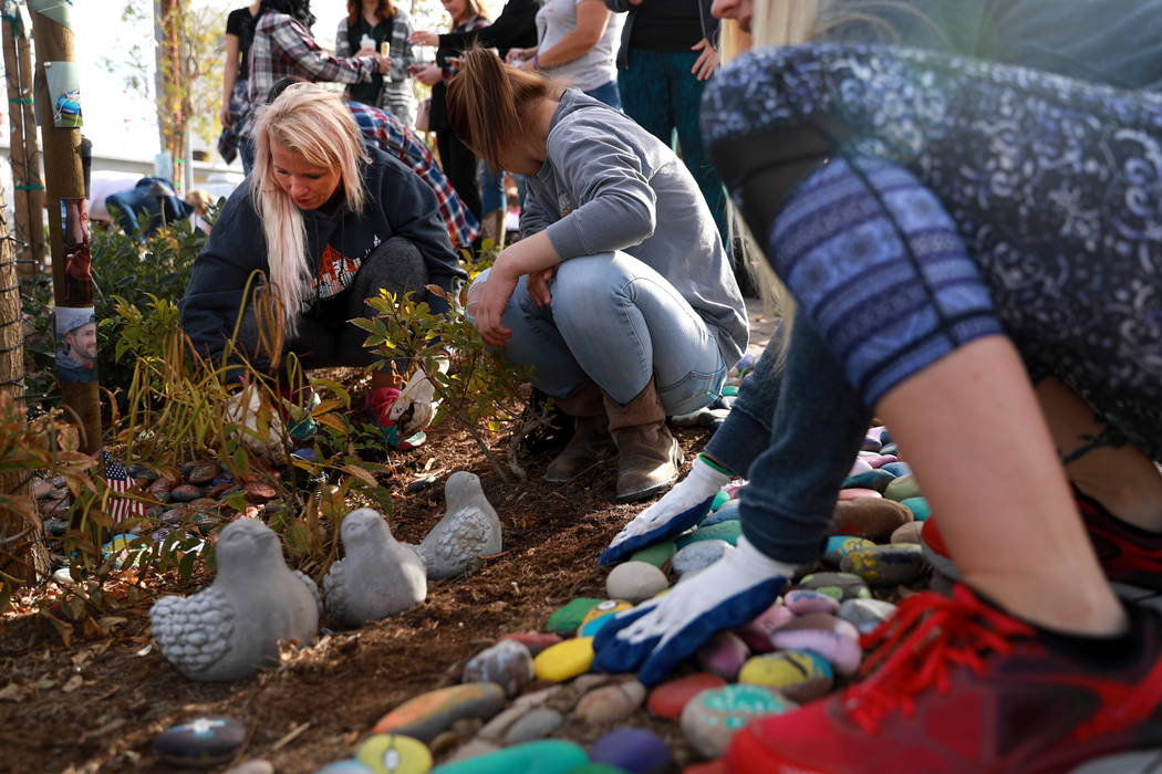 Melanie Green, who traveled from Utah to plant daffodils for a victim, Cameron Robinson, helps volunteers plant 10,000 daffodils at the Healing Garden in Las Vegas on Saturday, Feb. 10, 2018. Andr ...