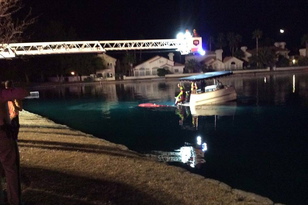 A Technical Rescue Team was on the scene around 1:30 a.m. pulling a vehicle our of the water, according to a tweet from Las Vegas Fire and Rescue.