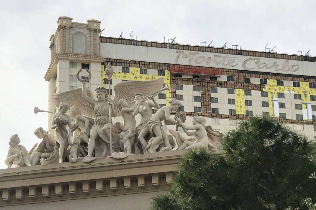 Construction takes place on the exterior of the Monte Carlo hotel-casino as the property transitions to Park MGM, Nov. 20, 2017 in Las Vegas. David Guzman Las Vegas Review-Journal