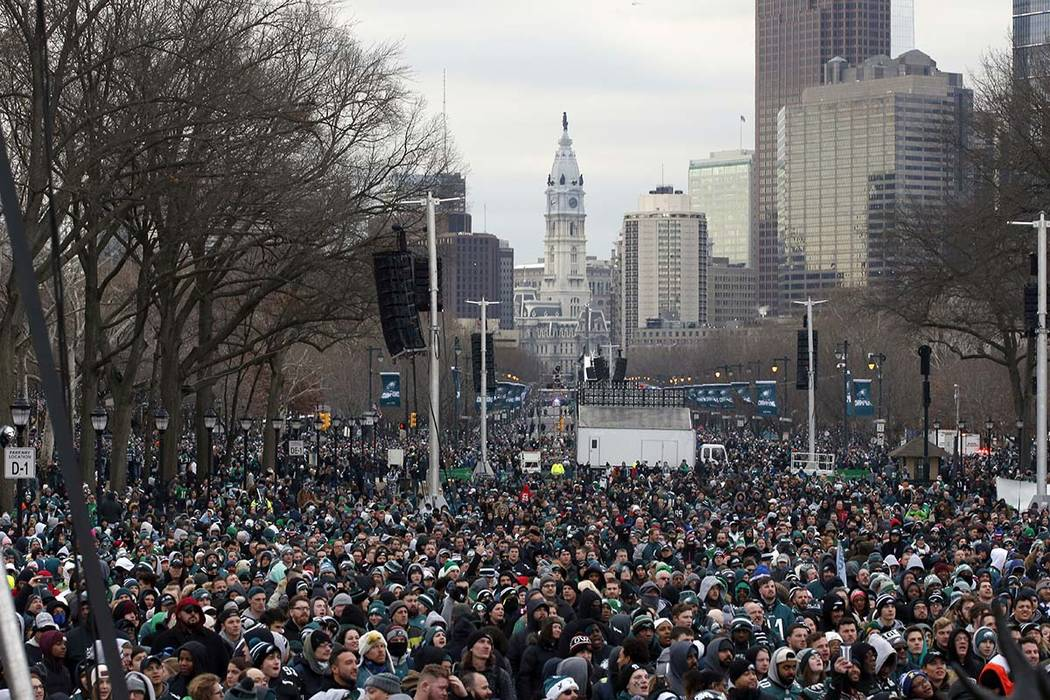 Fans line Benjamin Franklin Parkway before a Super Bowl victory parade for the Philadelphia Eagles football team, Thursday, Feb. 8, 2018, in Philadelphia. (Alex Brandon/AP)