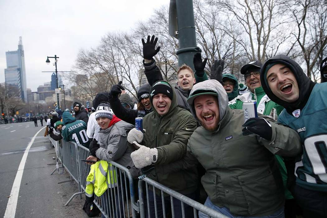 Fans line Benjamin Franklin Parkway before a Super Bowl victory parade for the Philadelphia Eagles NFL football team, Thursday, Feb. 8, 2018, in Philadelphia. (Alex Brandon/AP)