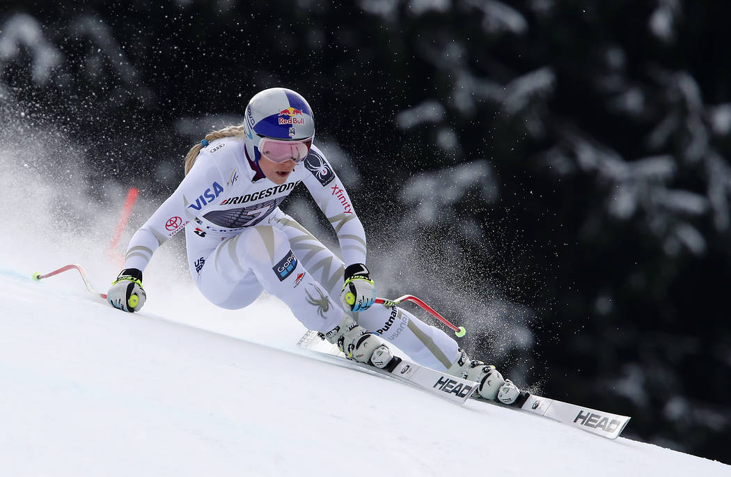United States' Lindsey Vonn competes during an alpine ski, women's world Cup downhill race, in Garmisch Partenkirchen, Germany, Sunday, Feb. 4, 2018. (AP Photo/Gabriele Facciotti)