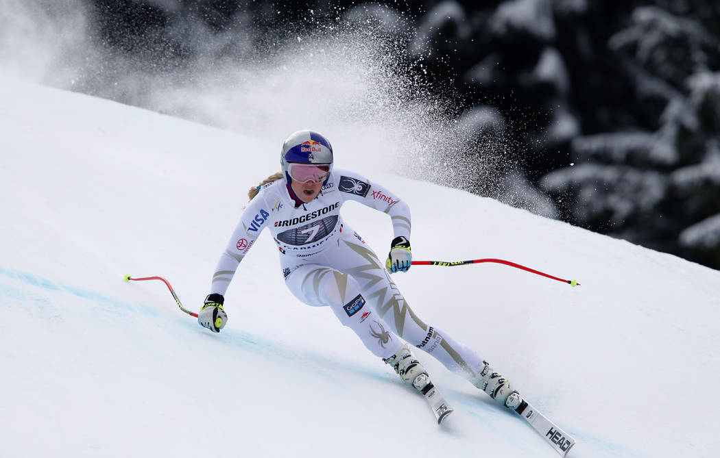 File-This Feb. 4, 2018, file photo shows United States' Lindsey Vonn competing during an alpine ski, women's world Cup downhill race, in Garmisch Partenkirchen, Germany. The Olympic speed courses  ...