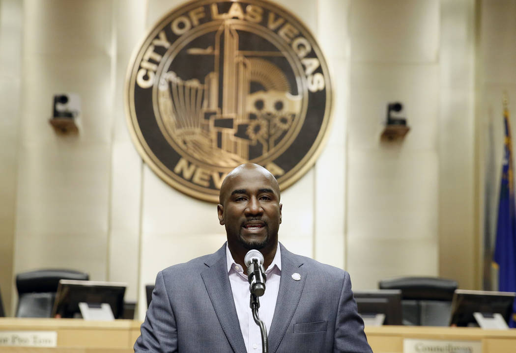Las Vegas City Councilman Ricki Y. Barlow announces his resignation during a press conference in council chambers at the City Hall on Monday, Jan. 22, 2018, in Las Vegas. (Bizuayehu Tesfaye/Las Ve ...