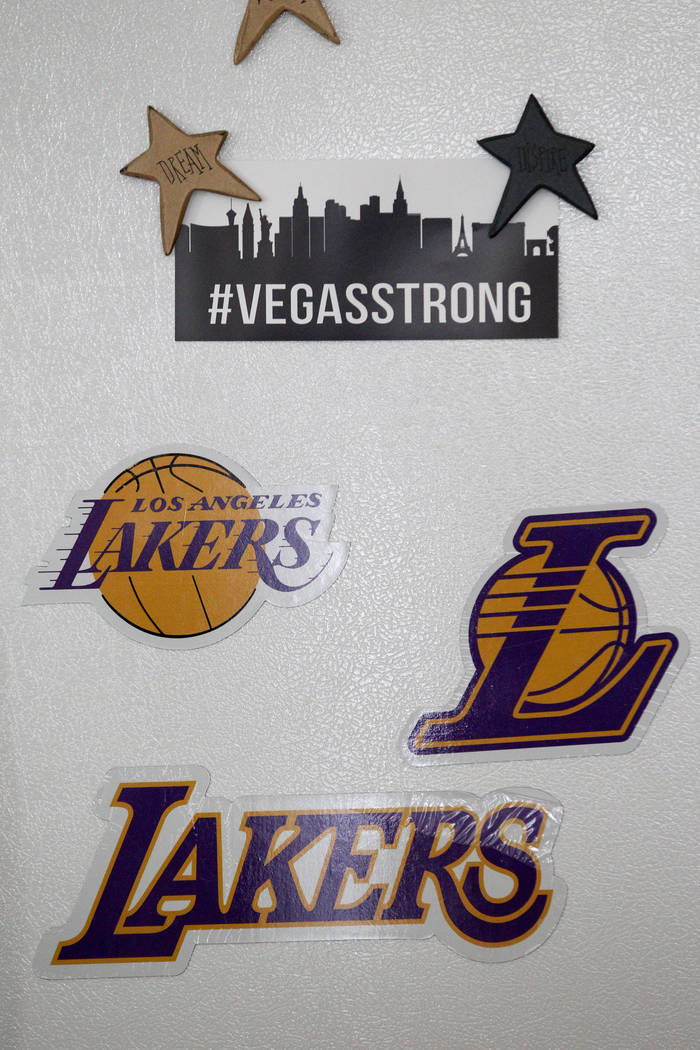 Magnets on the fridge in the Las Vegas home of Neil and Marla Libidinsky Friday, Feb. 9, 2018. Their 24-year-old daughter Jenna, a fan of the Los Angeles Lakers, died from the flu this week. K.M.  ...