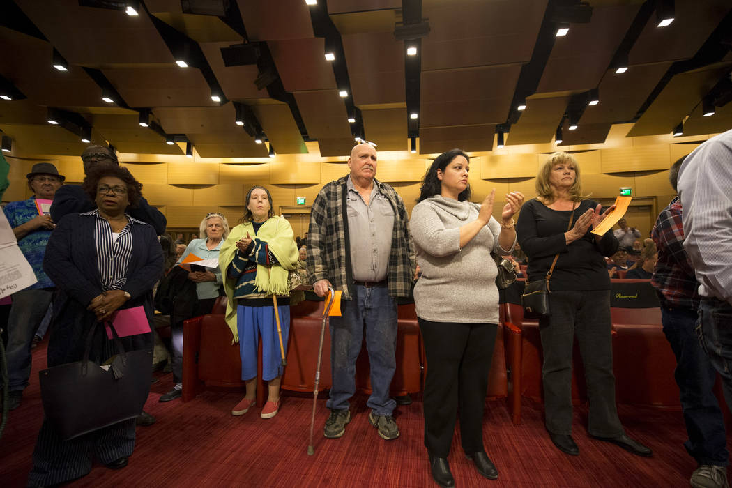 People in opposition of the city's annexation efforts wait to comment during public hearing at Las Vegas City Hall on Monday, Feb. 12, 2018. (Richard Brian/Las Vegas Review-Journal) @vegasphotograph
