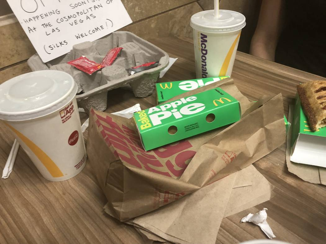 Remnants of a meeting with Tammy Babcock and Harry M. Howie at McDonald's at The D Las Vegas on Monday, Feb. 5, 2018. (John Katsilometes/Las Vegas Review-Journal). @JohnnyKats