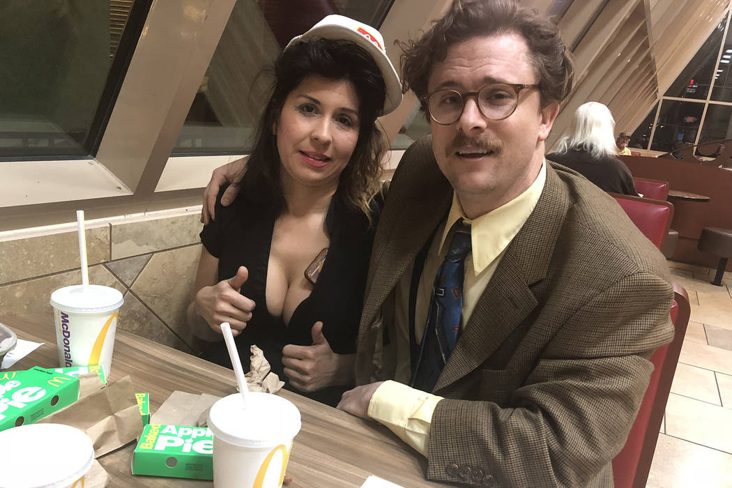 """Opium"" Harry M. Howie and his new ""find,"" former McDonald's staffer (not really) Tammy Babcock (not her real name). (John Katsilometes/Las Vegas Review-Journal). @JohnnyKats"