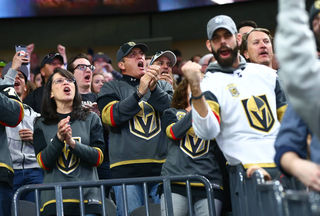 Golden Knights fans celebrate during an NHL hockey game against the Montreal Canadiens at T-Mobile Arena in Las Vegas on Saturday, Feb. 17, 2018. Chase Stevens Las Vegas Review-Journal @csstevensphoto