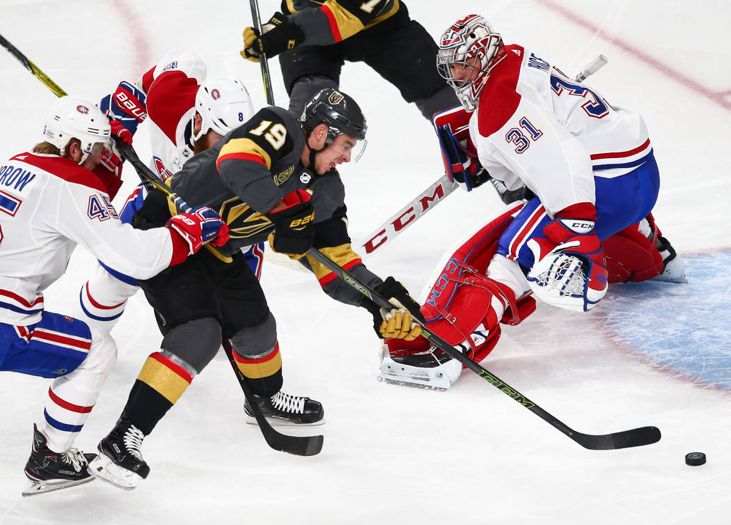 Golden Knights right wing Reilly Smith (19) lines up his shot to score against Montreal Canadiens goaltender Carey Price (31) during an NHL hockey game at T-Mobile Arena in Las Vegas on Saturday,  ...
