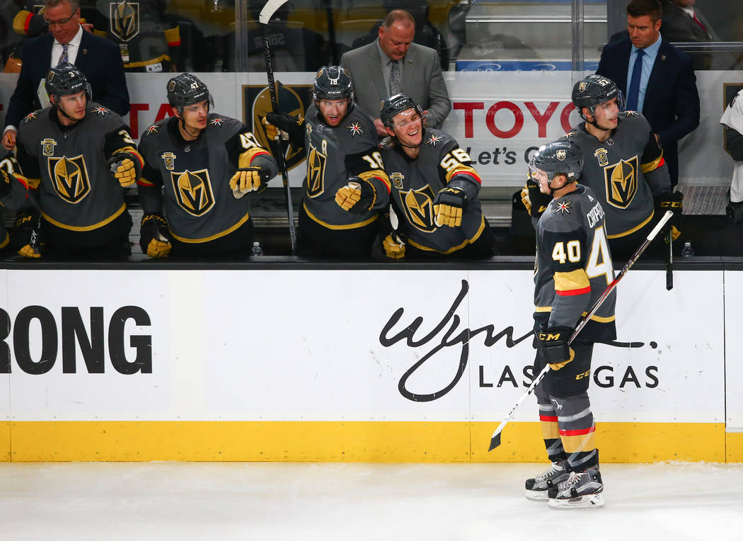 Golden Knights center Ryan Carpenter (40) celebrates his goal with players on the bench during an NHL hockey game against the Montreal Canadiens at T-Mobile Arena in Las Vegas on Saturday, Feb. 17 ...