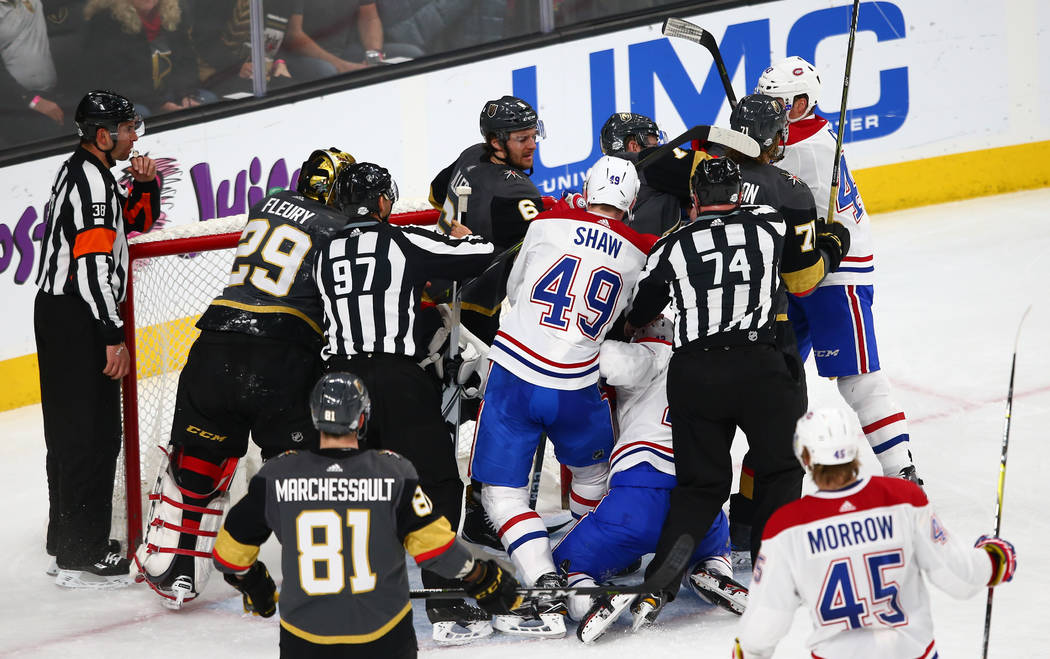 Golden Knights players get into an altercation with Montreal Canadiens players during an NHL hockey game at T-Mobile Arena in Las Vegas on Saturday, Feb. 17, 2018. Chase Stevens Las Vegas Review-J ...