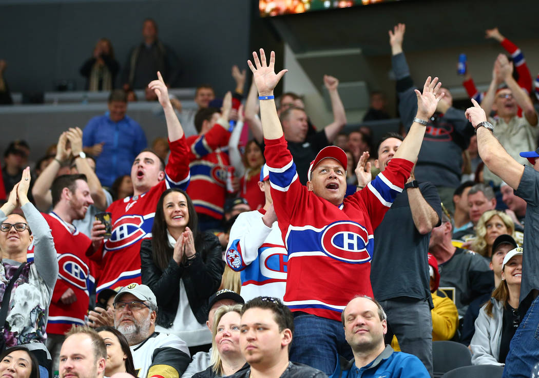 Montreal Canadiens fans celebrate a goal against the Golden Knights during the first period of an NHL hockey game at T-Mobile Arena in Las Vegas on Saturday, Feb. 17, 2018. Chase Stevens Las Vegas ...