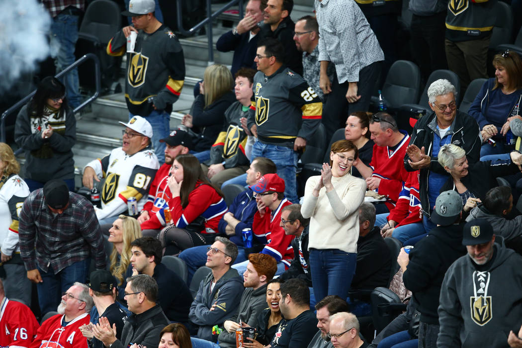 Golden Knights fans after a goal by Golden Knights right wing Reilly Smith (19) against the Montreal Canadiens during the second period of an NHL hockey game at T-Mobile Arena in Las Vegas on Satu ...