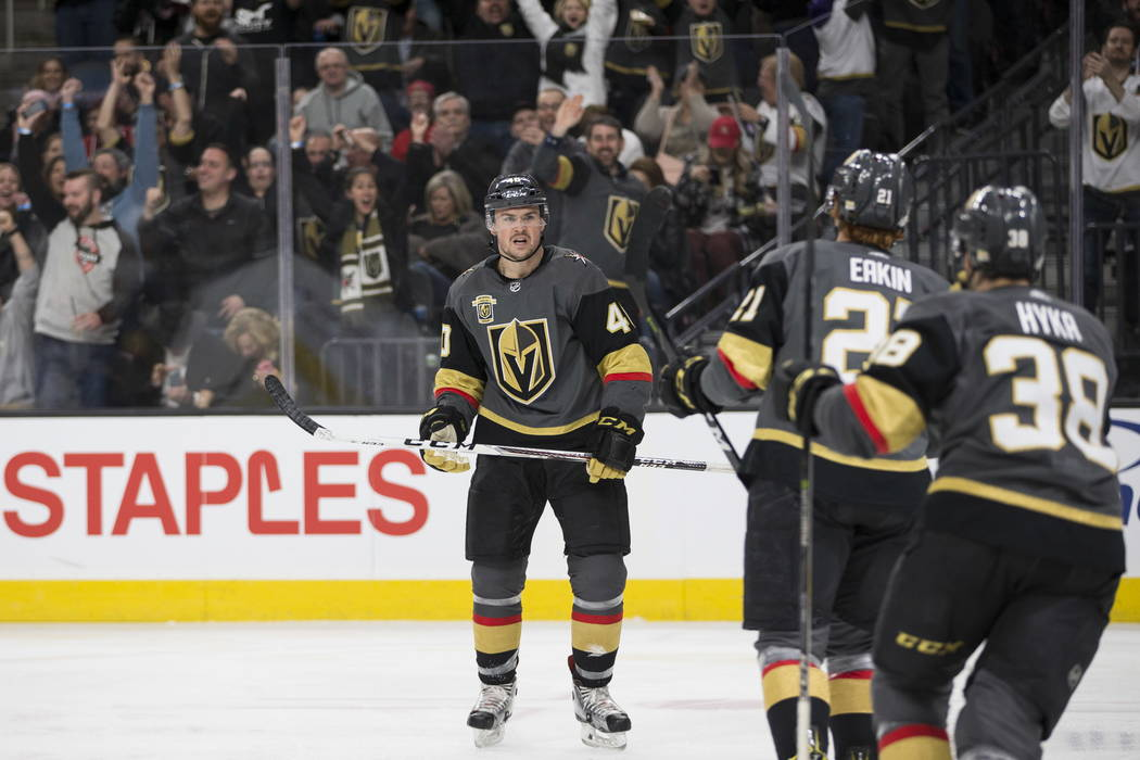 Vegas Golden Knights center Ryan Carpenter (40) reacts after scoring during the first period against Calgary Flames during the first period of an NHL game  at T-Mobile Arena in Las Vegas, Wednesda ...