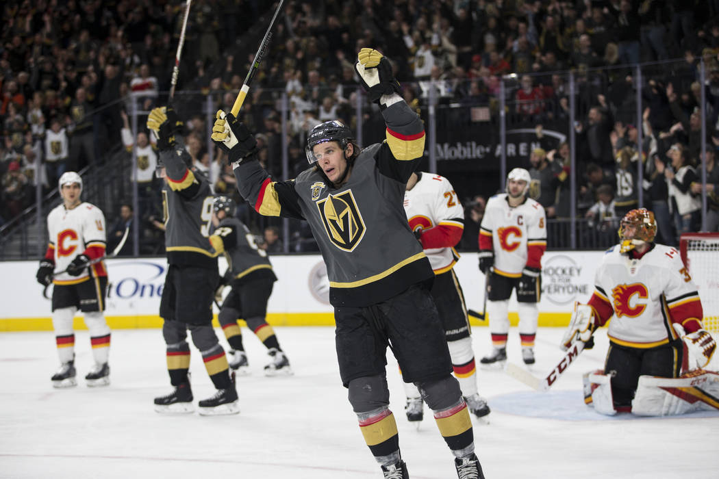 Vegas Golden Knights left wing Erik Haula (56) celebrates a score during the third period of an NHL game at T-Mobile Arena in Las Vegas, Wednesday, Feb. 21, 2018. The Knights won 7-3. Erik Verduzc ...
