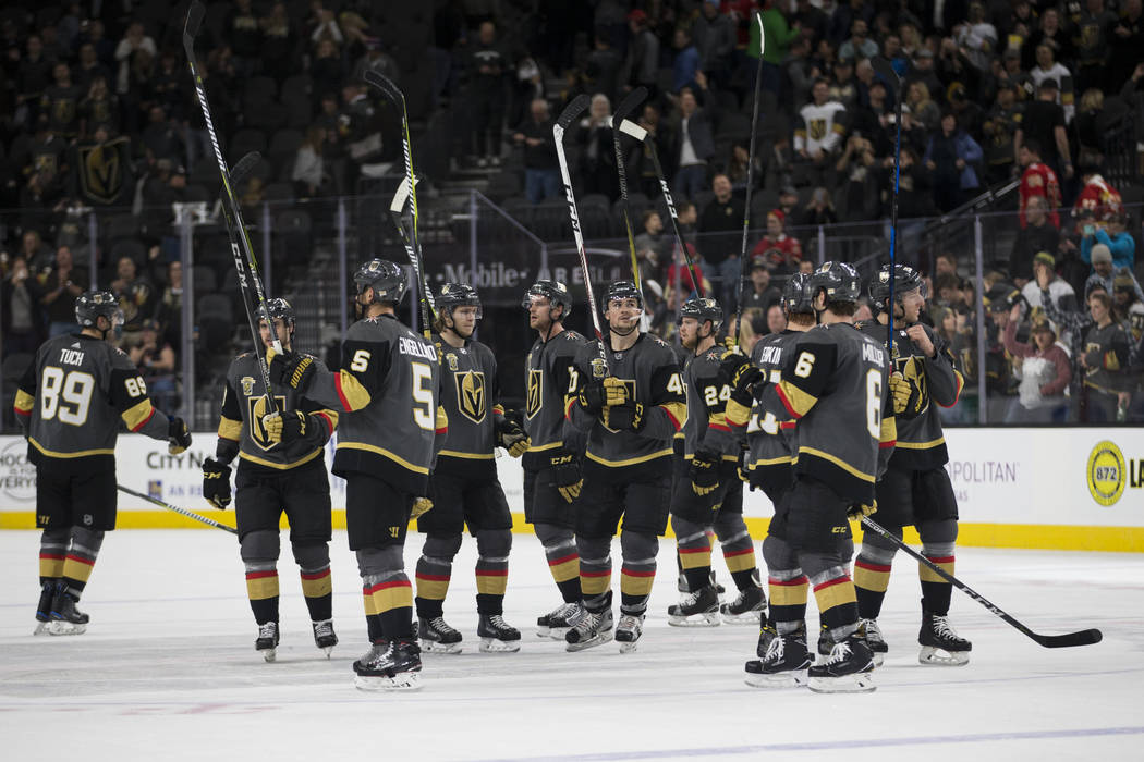 Vegas Golden Knights celebrate their win against Calgary Flames during an NHL game at T-Mobile Arena in Las Vegas, Wednesday, Feb. 21, 2018. The Knights won 7-3. Erik Verduzco Las Vegas Review-Jou ...