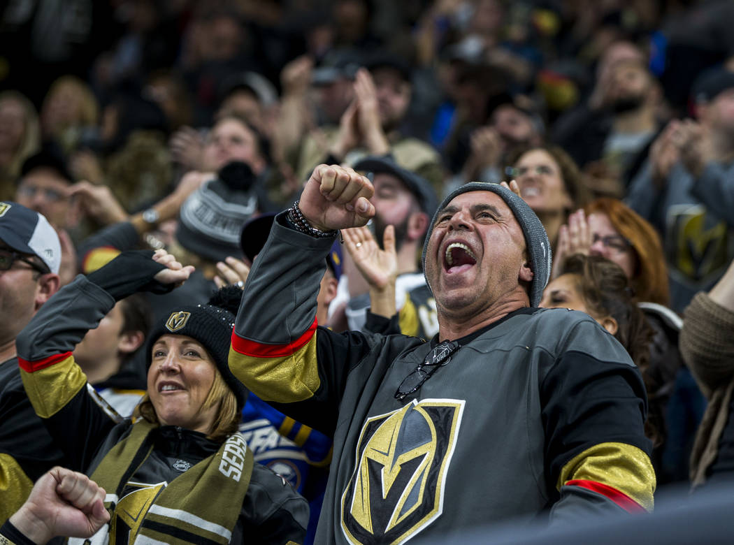 A fan cheers after the Golden Knights' fifth goal during the second period of an NHL hockey game at T-Mobile Arena in Las Vegas on Friday, Feb. 23, 2018.  Patrick Connolly Las Vegas Review-Journal ...