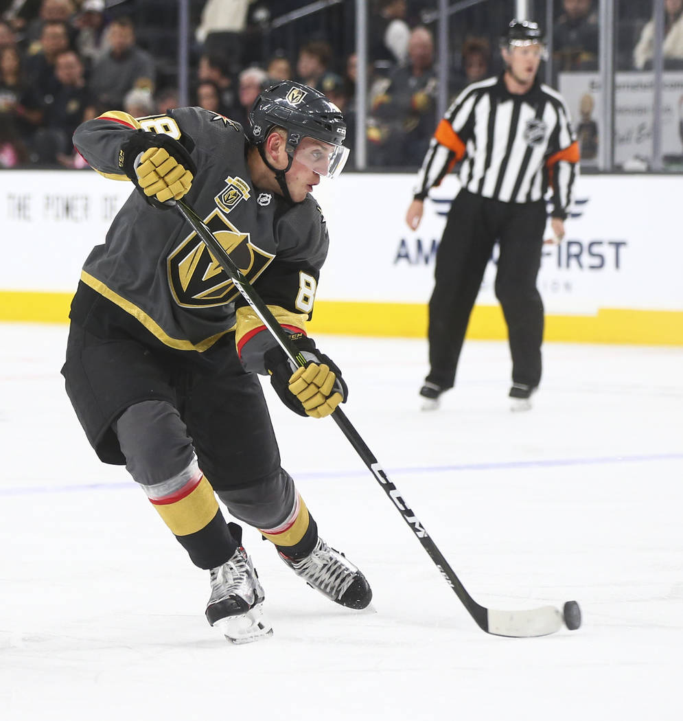 Golden Knights' Nate Schmidt (88) moves the puck against the Florida Panthers during an NHL hockey game at T-Mobile Arena in Las Vegas on Sunday, Dec. 17, 2017. Chase Stevens Las Vegas Review-Jour ...
