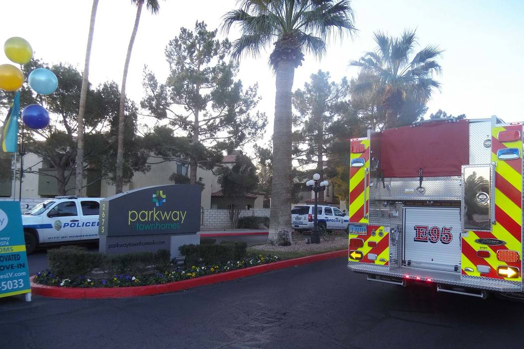 Henderson police and fire responded to the report of a possible murder-suicide at Parkway Homes, 2675 Windmill Parkway, near Pecos Road, Friday, Feb. 9, 2018. (Max Michor/Las Vegas Review-Journal)