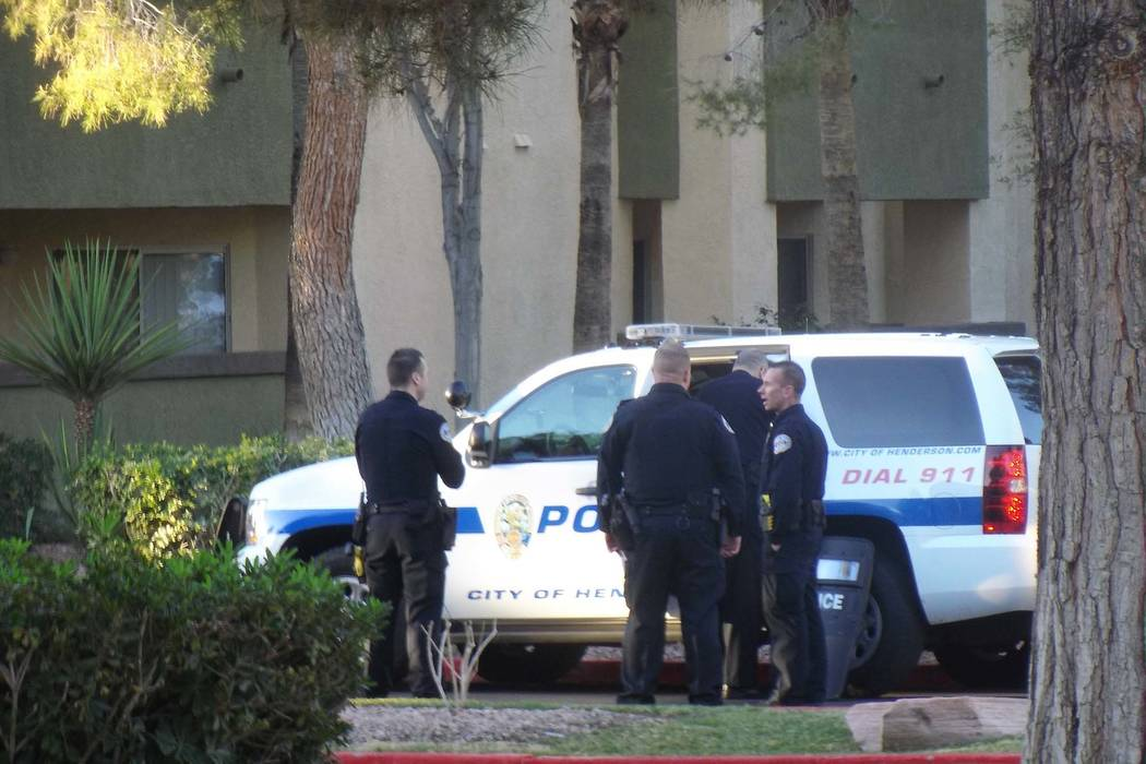 Henderson police investigate a possible murder-suicide at Parkway Homes, 2675 Windmill Parkway, near Pecos Road, Friday, Feb. 9, 2018. (Max Michor/Las Vegas Review-Journal)