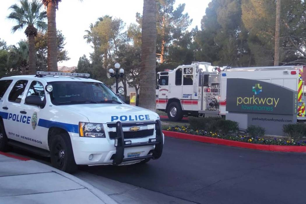 Henderson police on Friday are investigating an incident at Parkway Townhomes, 2675 Windmill Parkway. (Max Michor/Las Vegas Review-Journal)