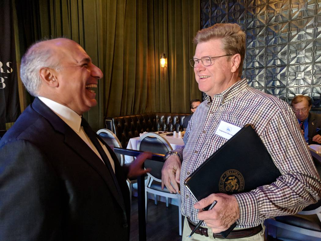 Rep. Mark Amodei, R-Nev., right, chats with Las Vegas City Councilman Stavros Anthony on Oct. 20, 2017, before a Las Vegas Metro Chamber of Commerce breakfast at The Sayers Club inside SLS Las Veg ...