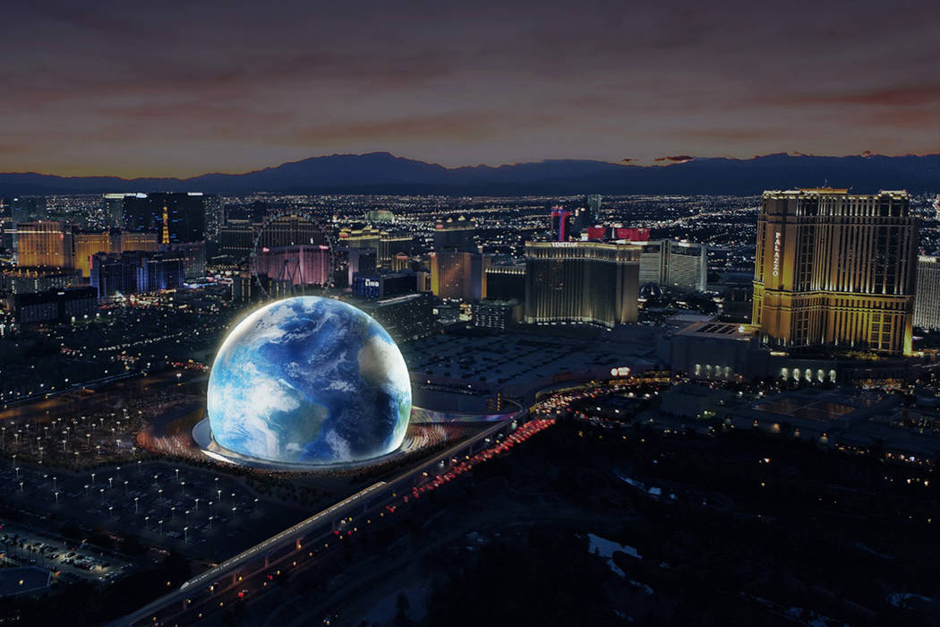 An artist's rendering of the MSG Sphere Las Vegas distributed Thursday, Feb. 8, 2018, shows the 300-foot performance venue near The Venetian. Construction begins later this year with completion pl ...