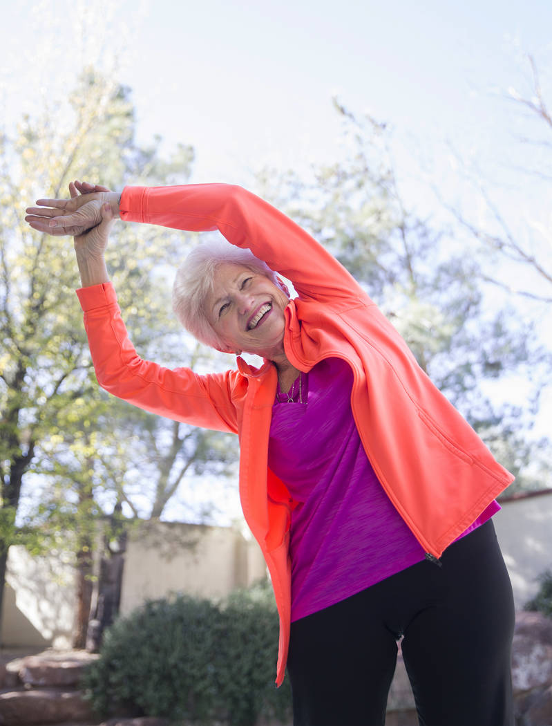 Writer/advocate Nancy Nelson, 74, does a series of classical stretches in her back yard on Monday, February 5, 2018, in Las Vegas. Nelson was diagnosed with early onset Alzheimerճ disease in ...