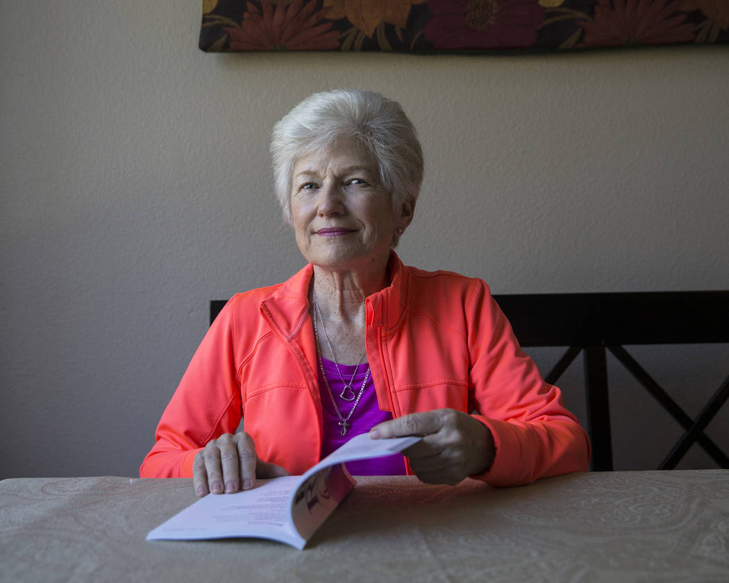Writer/advocate Nancy Nelson, 74, at her home on Monday, February 5, 2018, in Las Vegas. Nelson was diagnosed with early onset Alzheimerճ disease in 2013, and attributes much of her continui ...