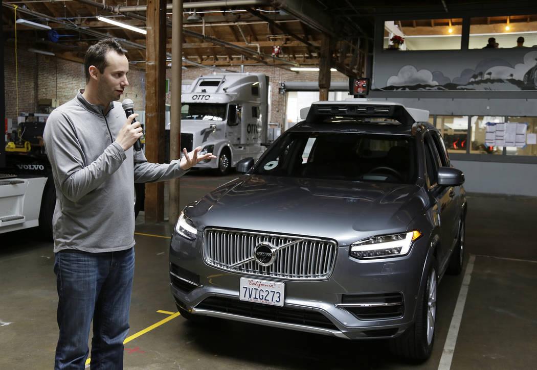 Anthony Levandowski, head of Uber's self-driving program, speaks about their driverless car in San Francisco. (AP Photo/Eric Risberg, File)