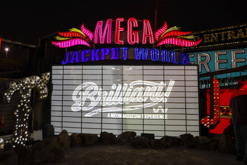 Signs are illuminated in Brilliant!, an audiovisual immersion experience that uses technology advances to reanimate 40 monumental examples of the museum's iconic vintage signs at the Neon Museum i ...