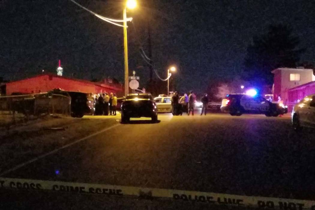 Homicide detectives were called to the scene near May Avenue and Center Drive, near Charleston Boulevard and U.S. 95 in the eastern valley on Tuesday night. (Mike Shoro/Las Vegas Review-Journal)