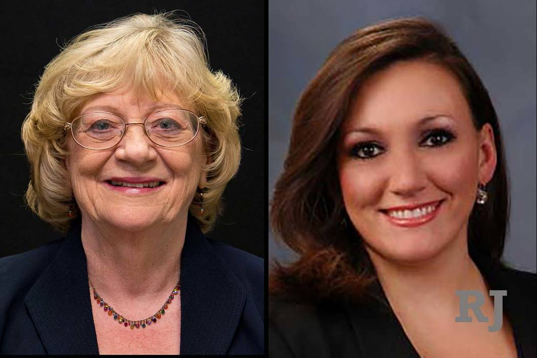 Nevada state Sens. Joyce Woodhouse, left, and Nicole Cannizzaro, right.