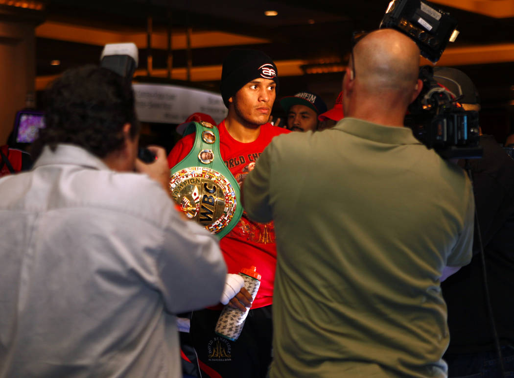 WBC super middleweight champion David Benavidez makes his way to the ring during the open workouts at the Mandalay Bay in Las Vegas, Wednesday, Feb. 14, 2018. Heidi Fang Las Vegas Review-Journal @ ...