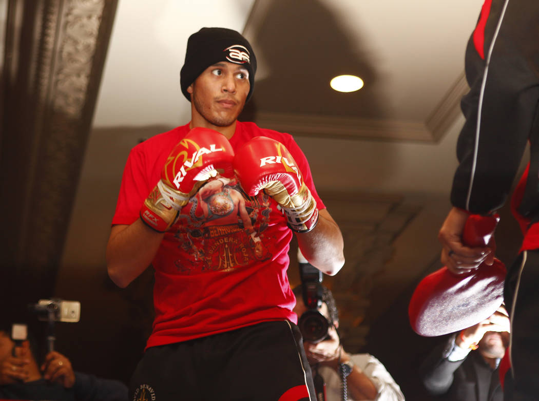 WBC super middleweight champion David Benavidez works out ahead of rematch with Ronald Gavril, not pictured, at the Mandalay Bay in Las Vegas, Wednesday, Feb. 14, 2018. Heidi Fang Las Vegas Review ...